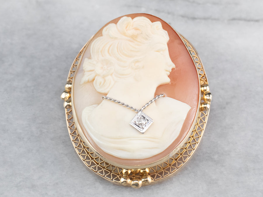 Retro Cameo Diamond Gold Brooch Pendant