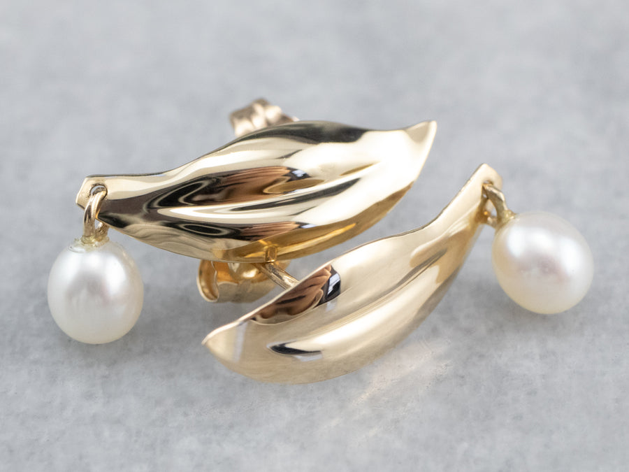 Pearl Leaf Gold Drop Earrings