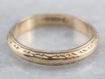 Vintage Patterned Gold Wedding Band