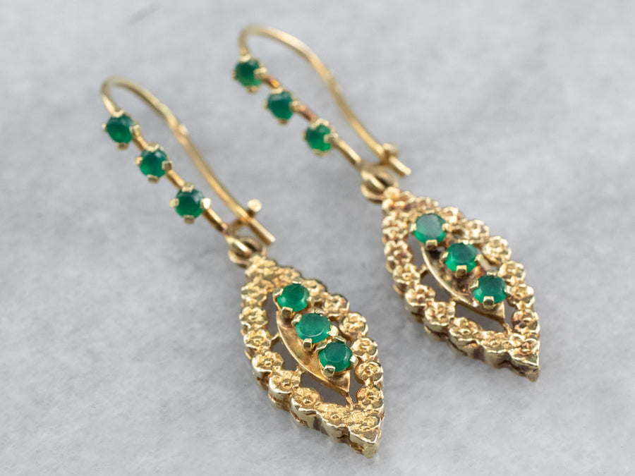 Green Onyx Gold Marquise Drop Earrings