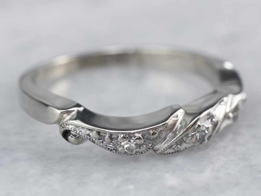 Vintage Diamond White Gold Wedding Band