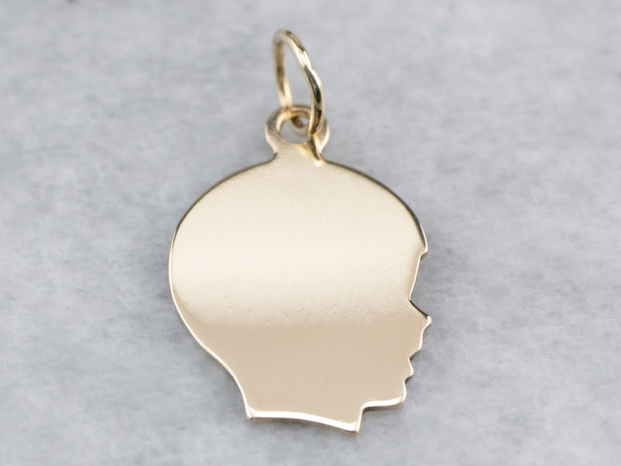 Boy Profile Gold Charm Pendant