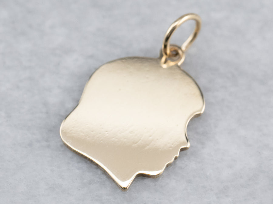 Girl Profile Gold Charm Pendant