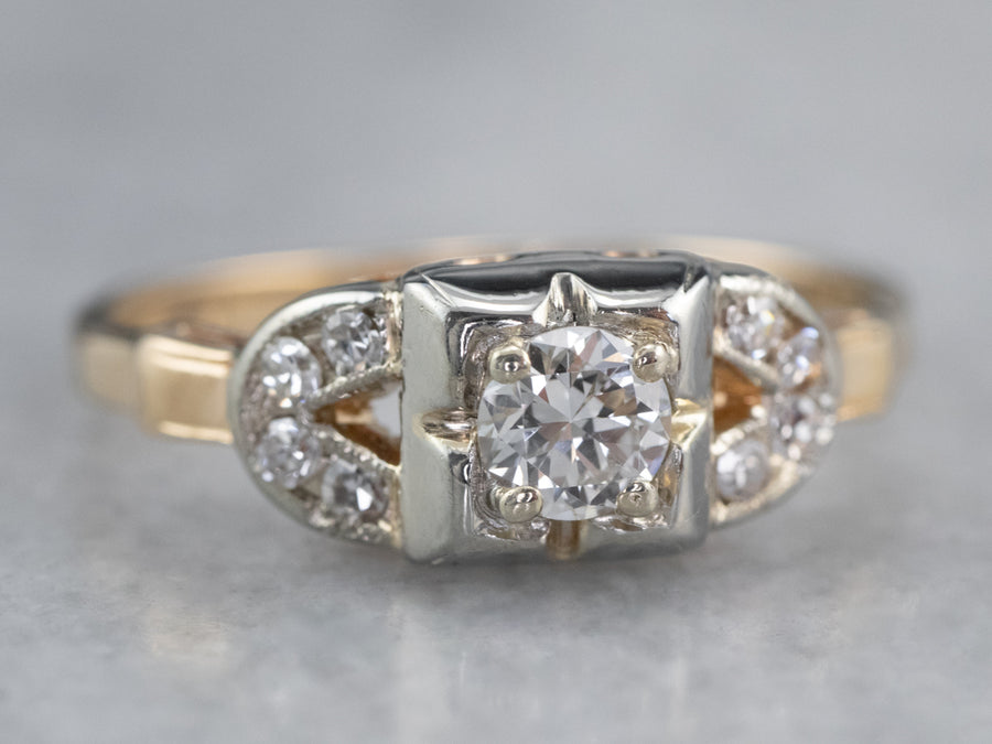 Retro Diamond Engagement Ring