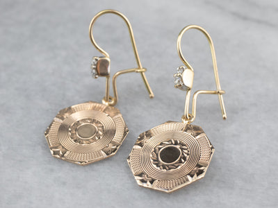 Etched Gold Diamond Drop Earrings