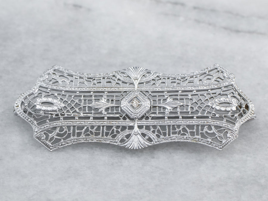 Art Deco Diamond White Gold Filigree Brooch