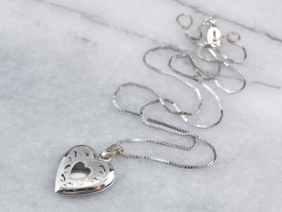 White Gold Heart Locket Pendant Necklace