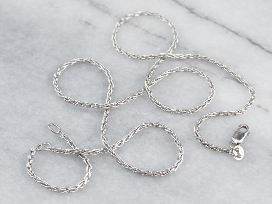 18K White Gold Wheat Chain Necklace