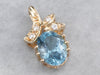 Gold Blue Topaz and Diamond Pendant