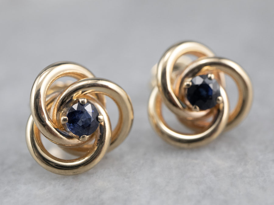Sapphire Gold Lover's Knot Stud Earrings
