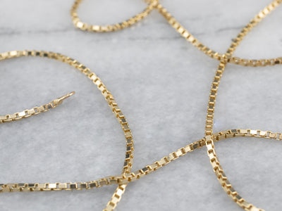 Vintage 20-Inch Yellow Gold Box Chain