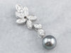 Grey Pearl Diamond White Gold Pendant