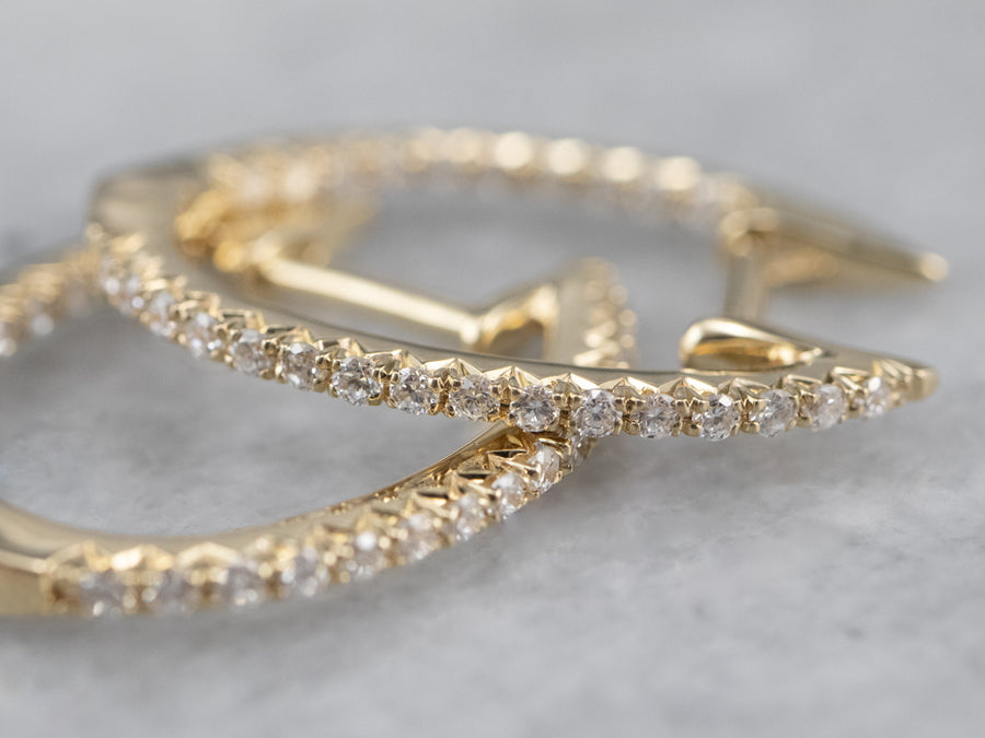 Thin Diamond Gold Hoop Earrings