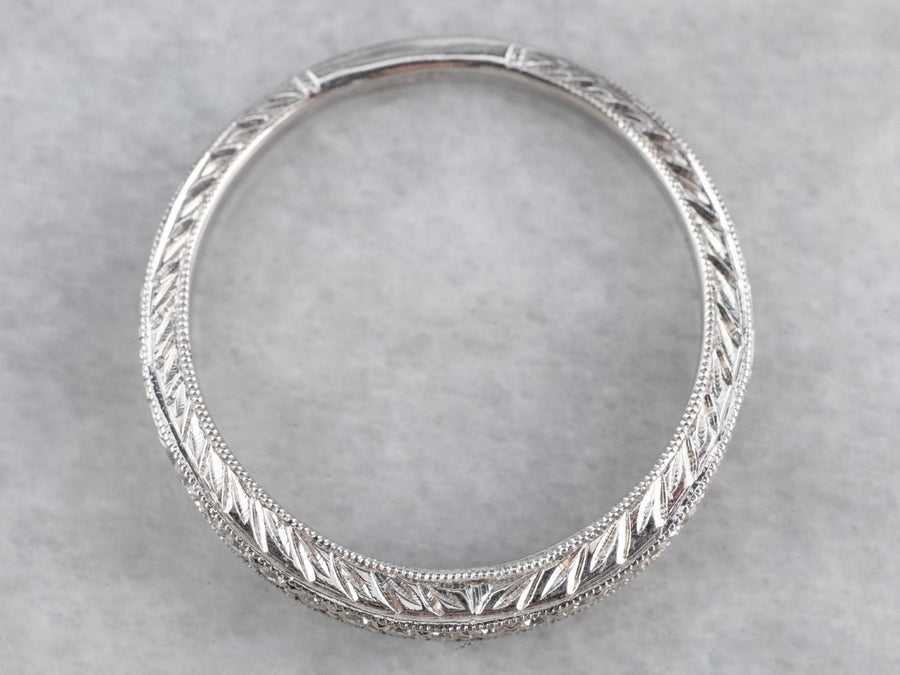 Curved Patterned Diamond White Gold Band