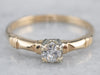 Retro Diamond Gold Solitaire Engagement Ring