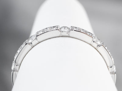 Diamond Station White Gold Wedding Band
