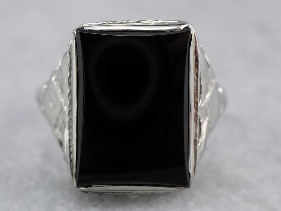 Vintage Black Onyx White Gold Filigree Ring