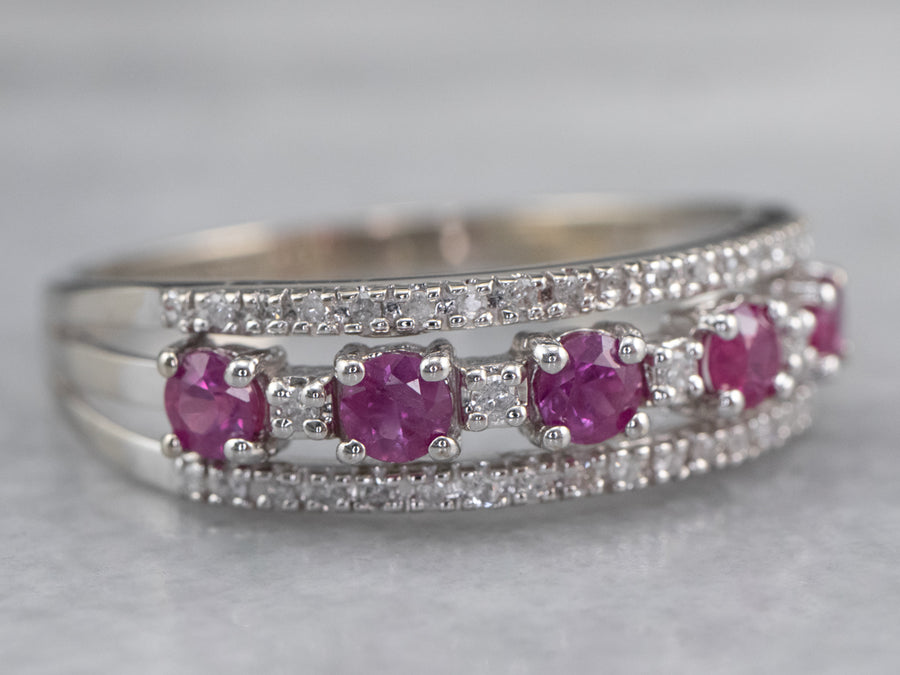 Ruby Diamond White Gold Band Ring