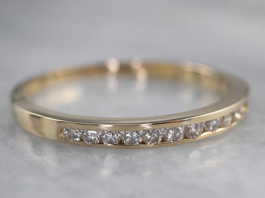 Thin Channel Set Diamond Gold Wedding Band