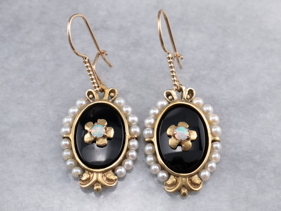Floral Opal Black Onyx Pearl Gold Drop Earrings