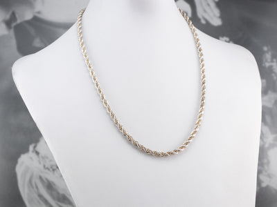 Mixed Metal Rope Chain Necklace