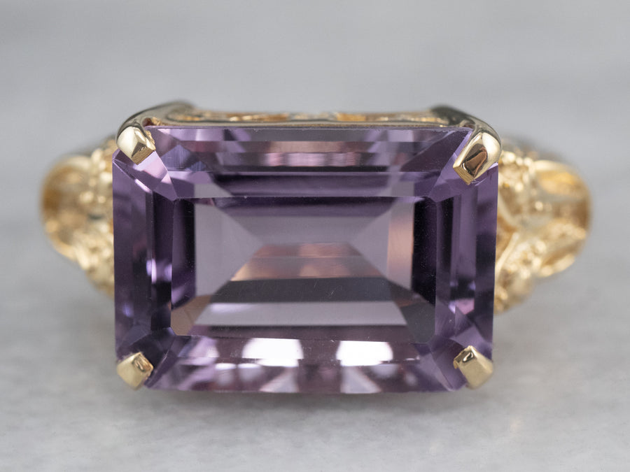 Amethyst East to West Gold Statement Ring