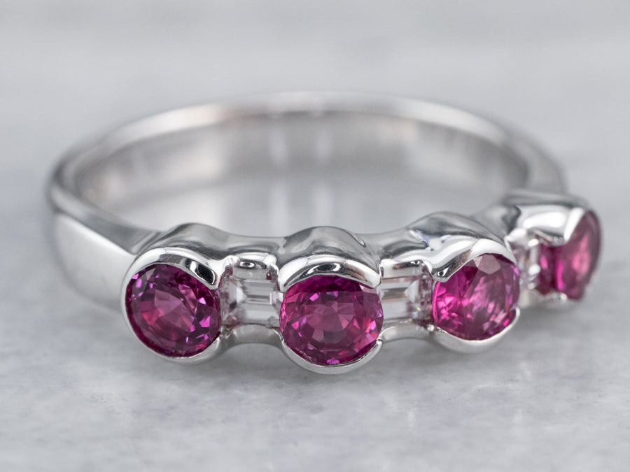 Fine 18K White Gold Ruby and Diamond Band