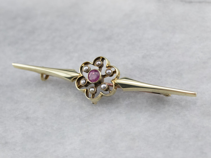 Antique Pink Sapphire Seed Pearl Brooch