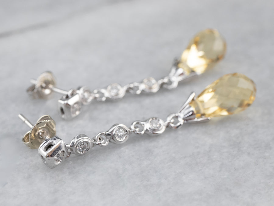 Diamond and Briolette Cut Citrine Drop Earrings