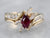Gold Marquise Ruby and Diamond Ring