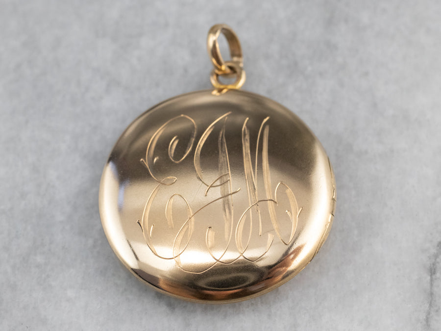 "Vintage Gold ""EJM"" Monogrammed Locket"