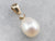 Pearl and Diamond Yellow Gold Pendant