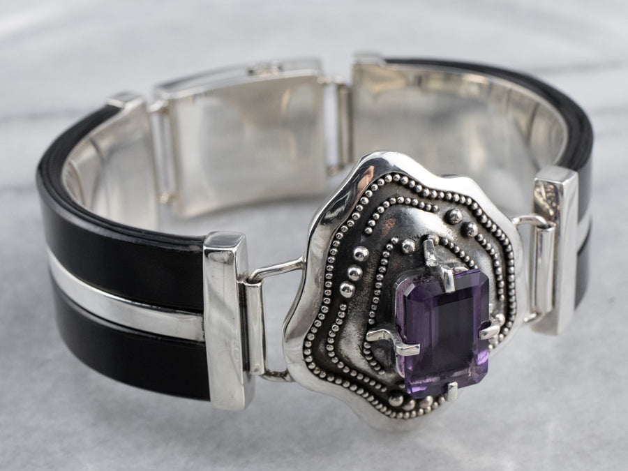 Amethyst and Black Onyx Silver Bracelet