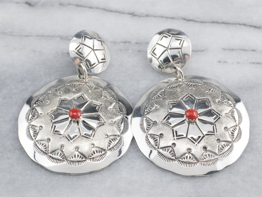 Native American Coral Sterling Silver Concha Earrings