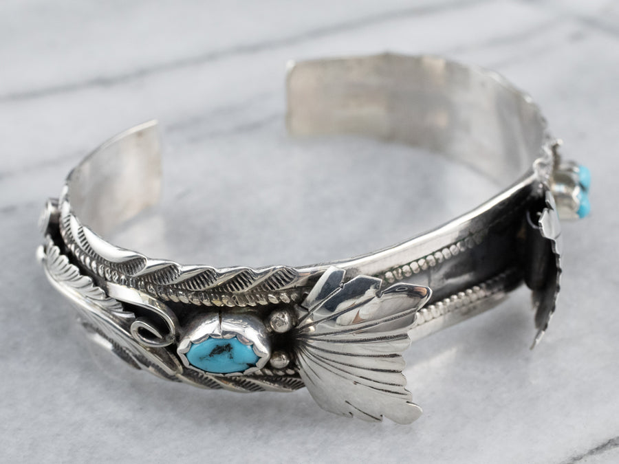 Navajo Turquoise Nugget Sterling Silver Watch Cuff