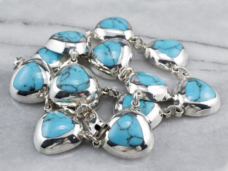 Modernist Sterling Silver Turquoise Necklace