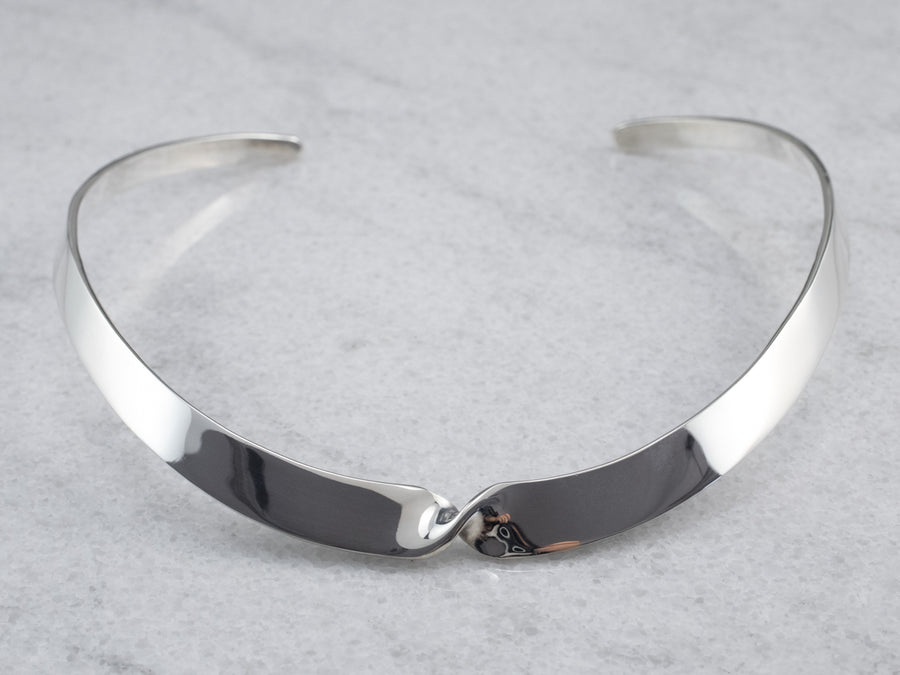 Sterling Silver Twist Collar Necklace