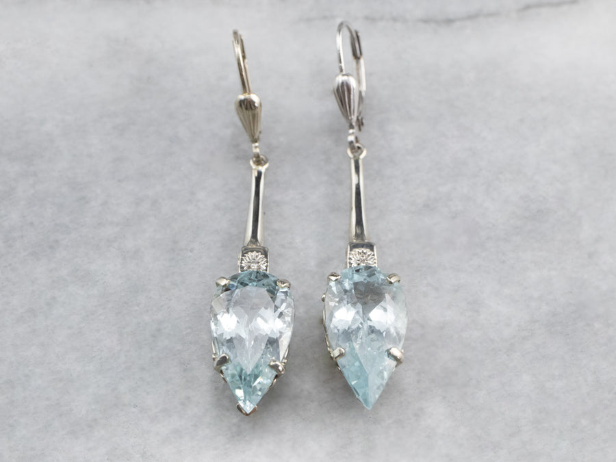 Floral Aquamarine and Diamond Drop Earrings