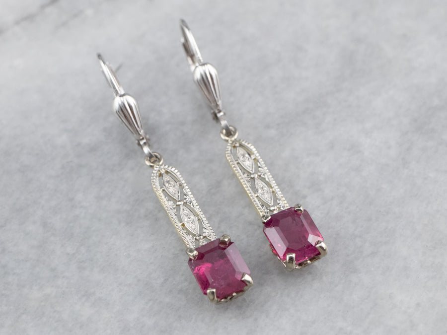 Ruby Filigree Drop Earrings
