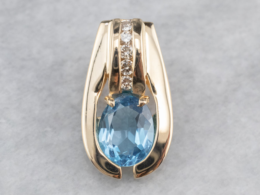 Modernist Gold Blue Topaz and Diamond Pendant