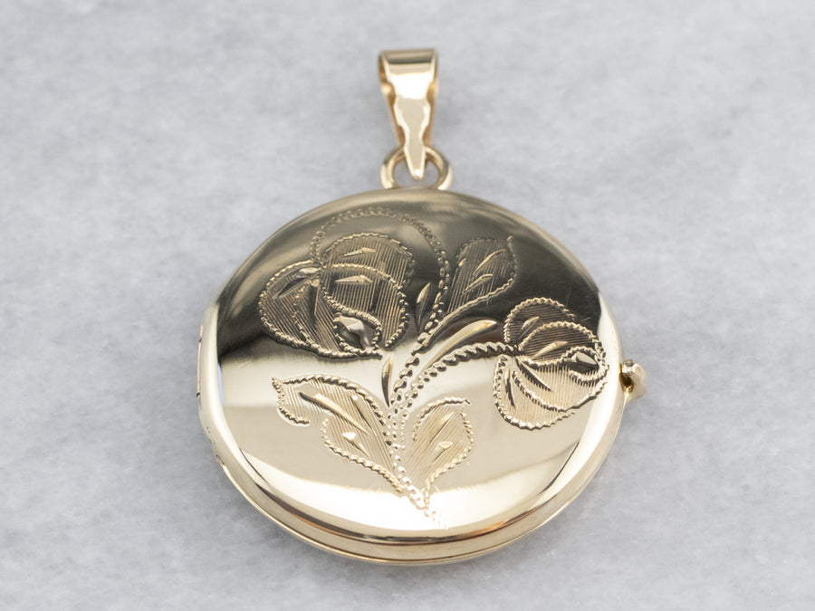 Etched Retro Era Round Gold Locket
