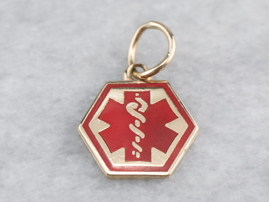 Vintage Red Enamel Medical Caduceus Charm