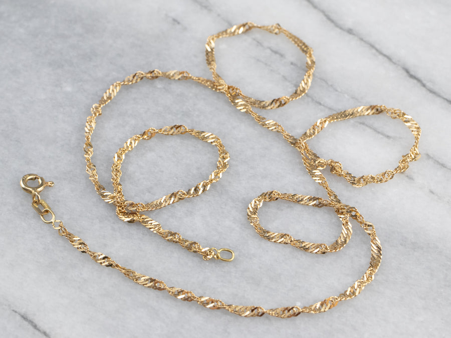 Yellow 18K Gold Twisted Curb Chain