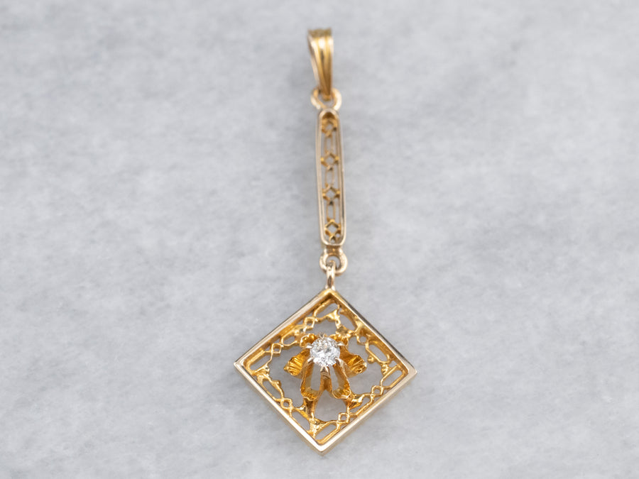Gold Buttercup Diamond Pendant