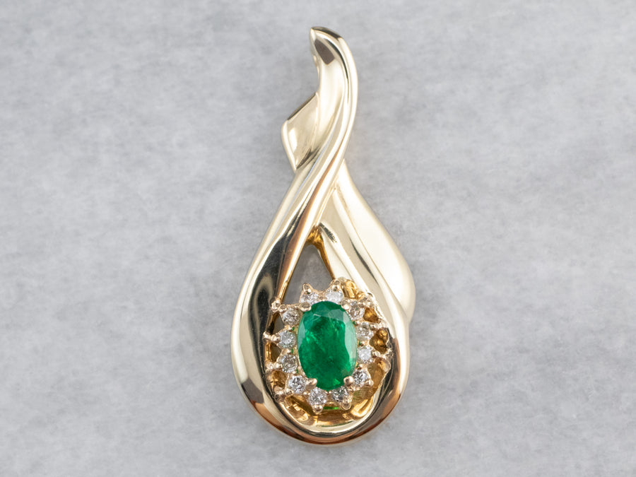 Twisting Gold Emerald and Diamond Pendant