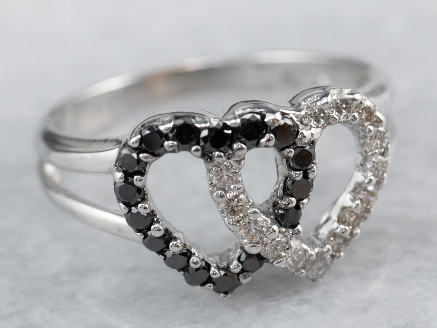 Interlocking Black and White Diamond Heart Ring