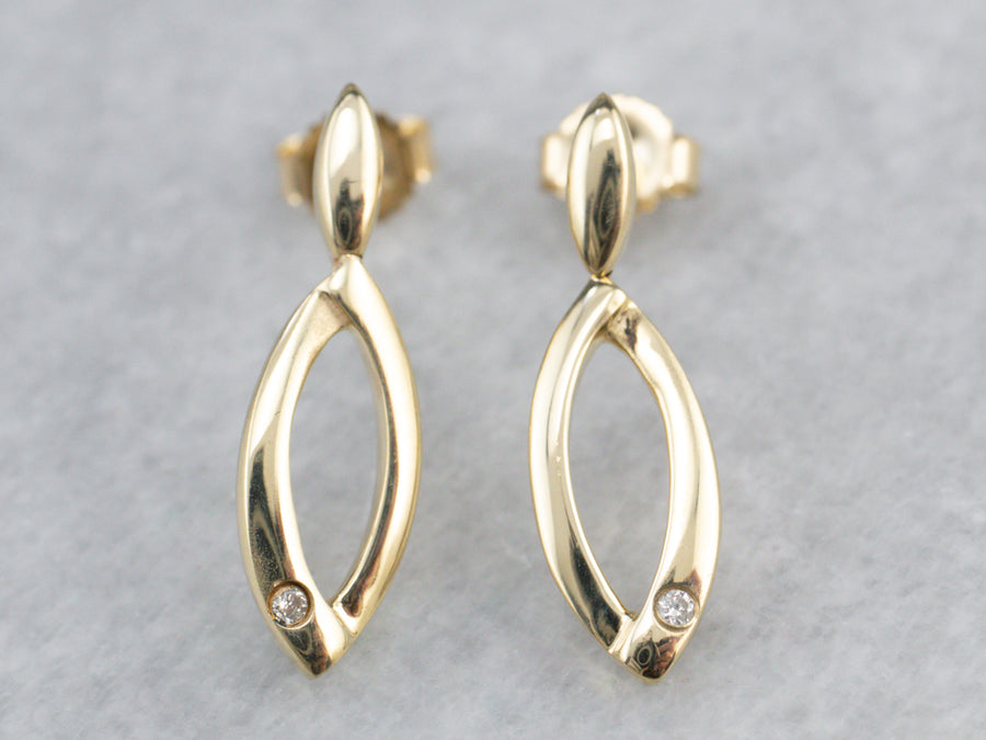 Diamond Gold Marquise Shape Drop Earrings