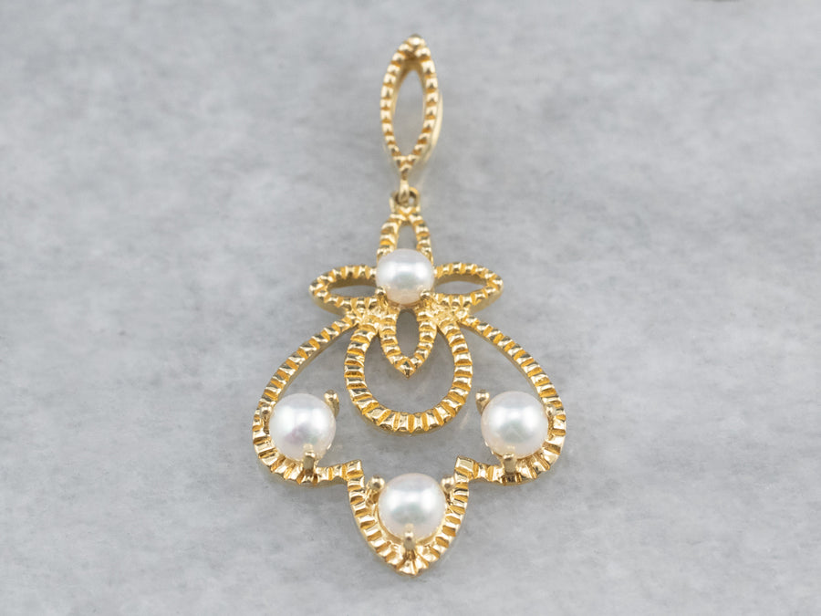 Gold Filigree Pearl Pendant
