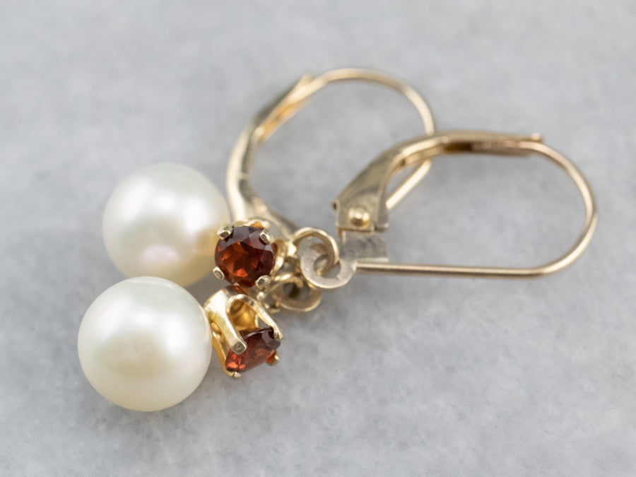 Gold Pearl and Garnet Drop Earrings