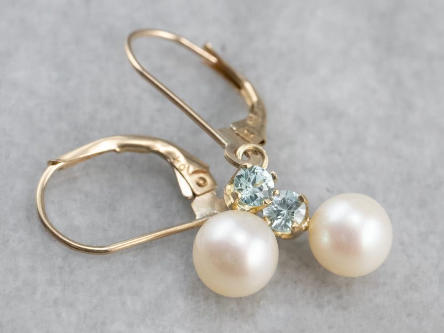 Pearl and Blue Zircon Drop Earrings